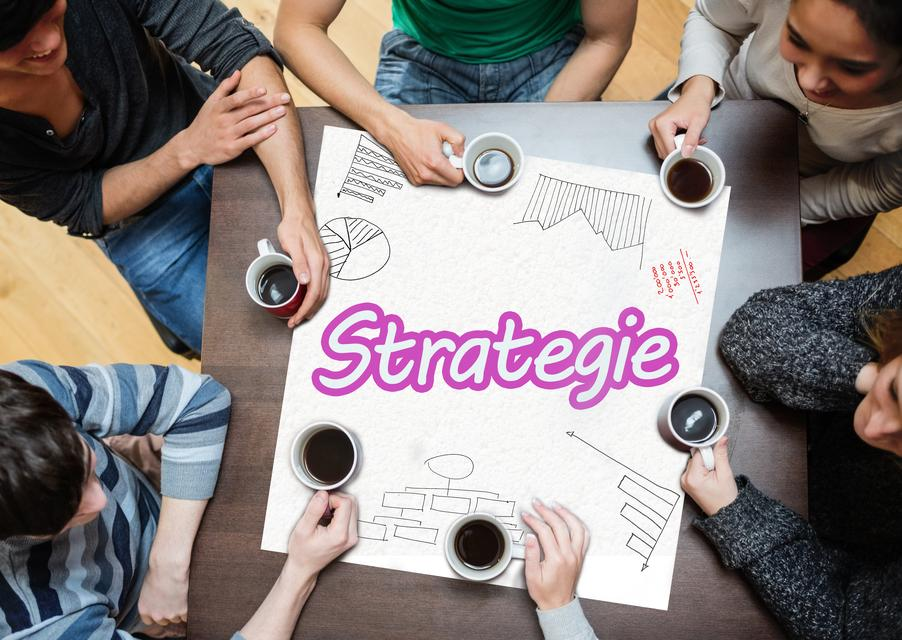 """Team planning a strategy together"" stock image"