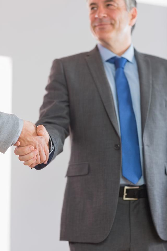 """""""Pleased businessman shaking a hand"""" stock image"""