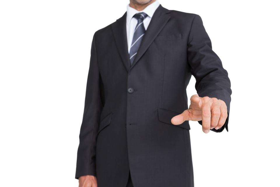 """Classy businessman pointing finger"" stock image"