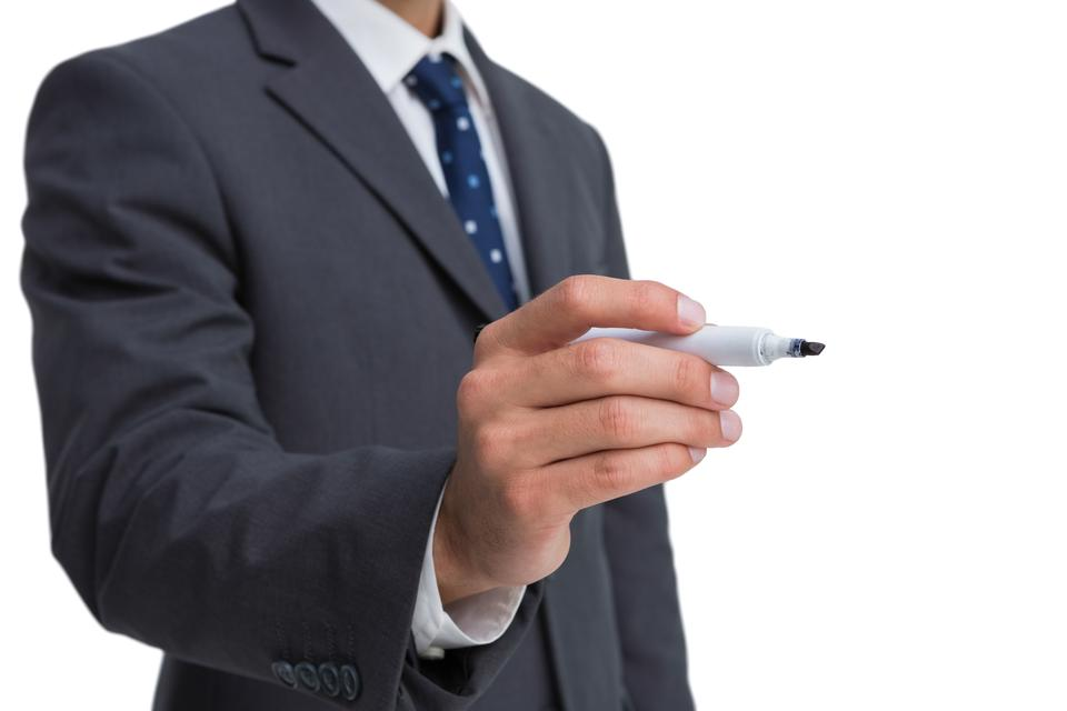 """Classy businessman holding a marker"" stock image"