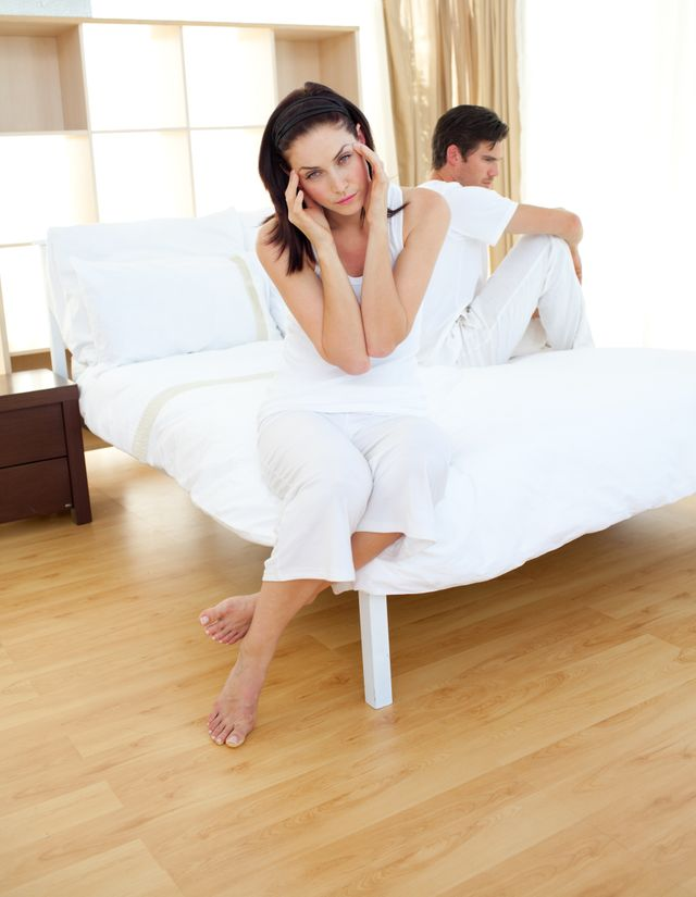"""""""Disappointed couple finding out results of a pregnancy test"""" stock image"""