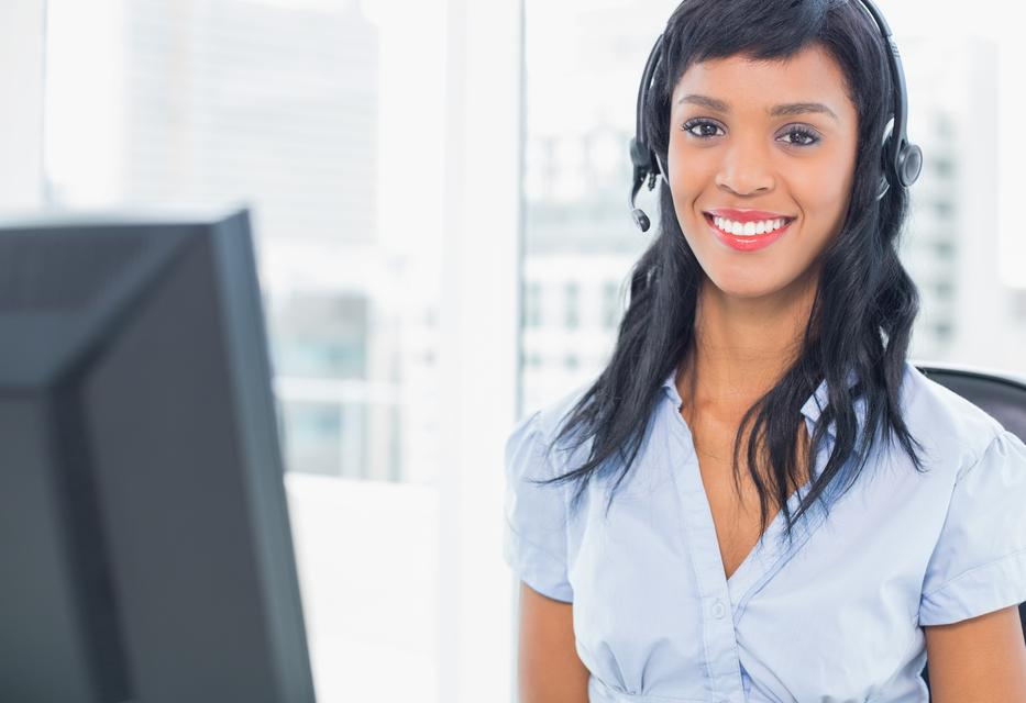 """""""Pleased operator looking at camera"""" stock image"""