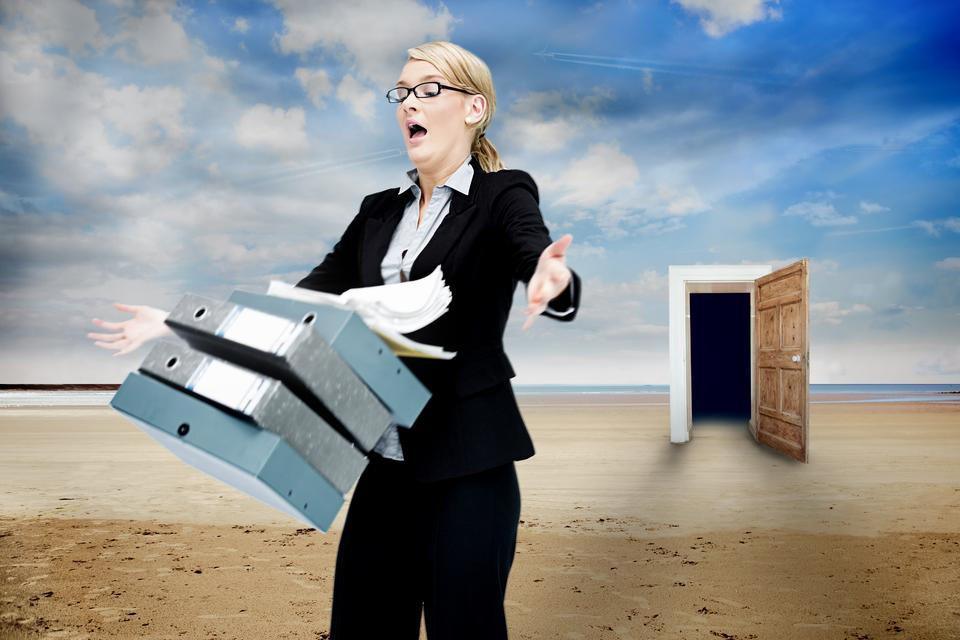 """""""Frustrated businesswoman dropping folders"""" stock image"""