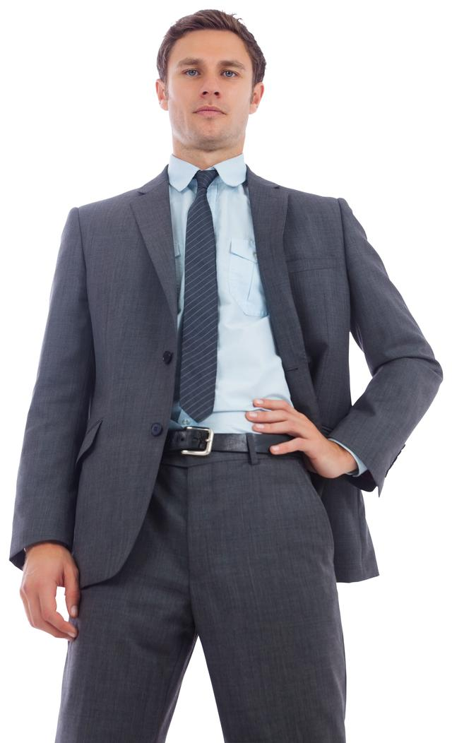 """Stern businessman with hand on hip"" stock image"