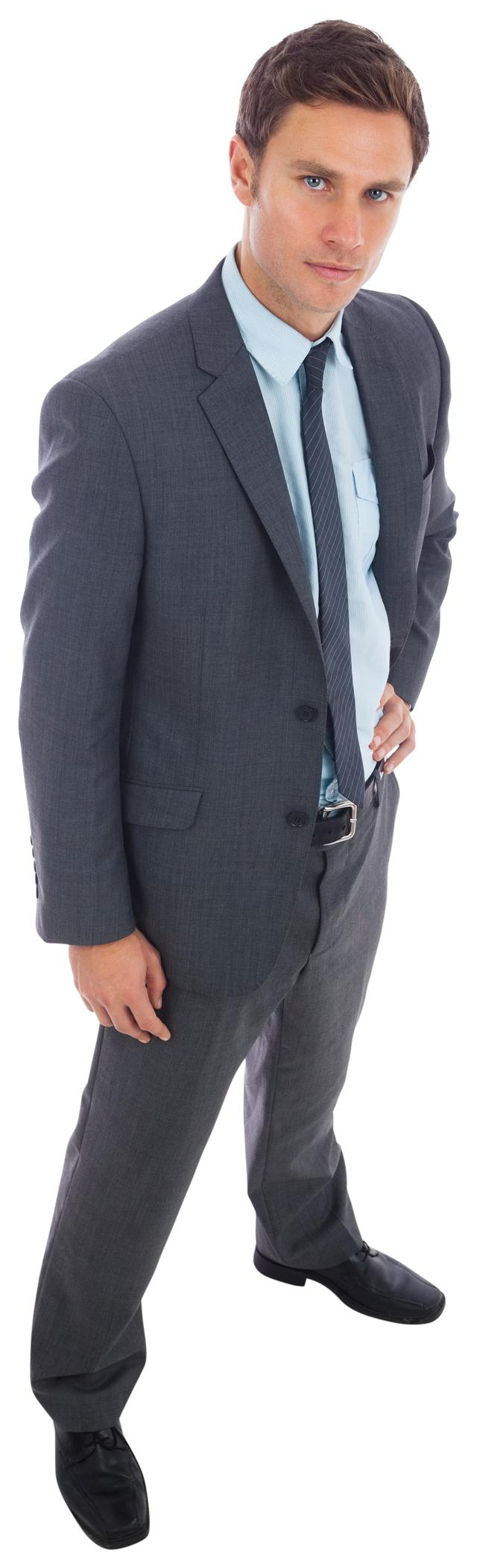 """Stern businessman standing with hand on hip"" stock image"