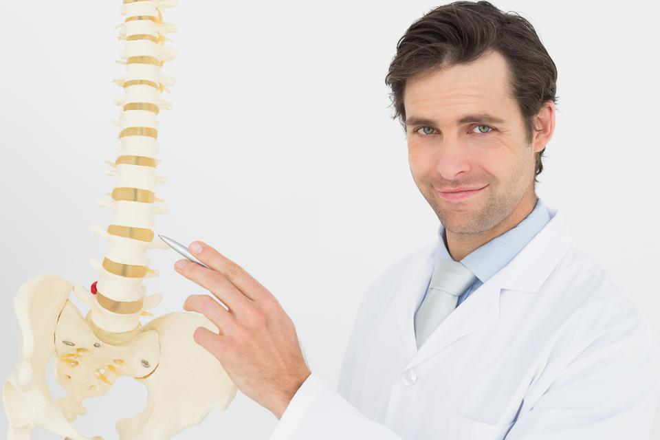"""Portrait of a smiling male doctor with skeleton model"" stock image"