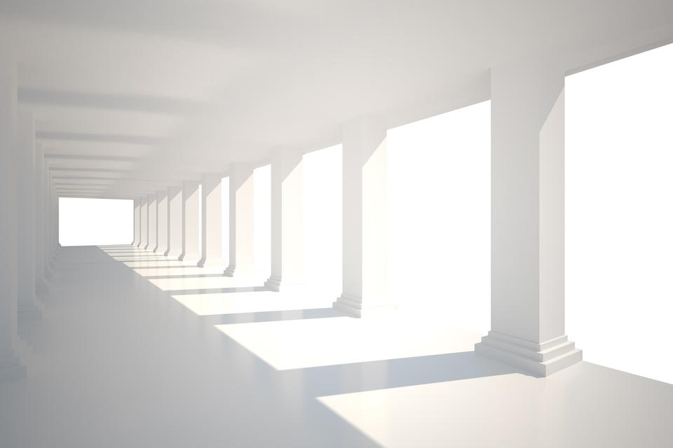 """""""Digitally generated room with columns"""" stock image"""