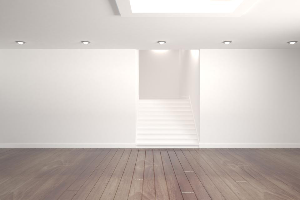 """""""Digitally generated room with stairs"""" stock image"""