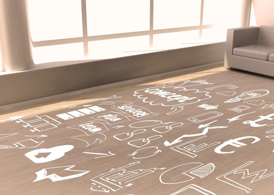 """""""Room with doodles on floor"""" stock image"""