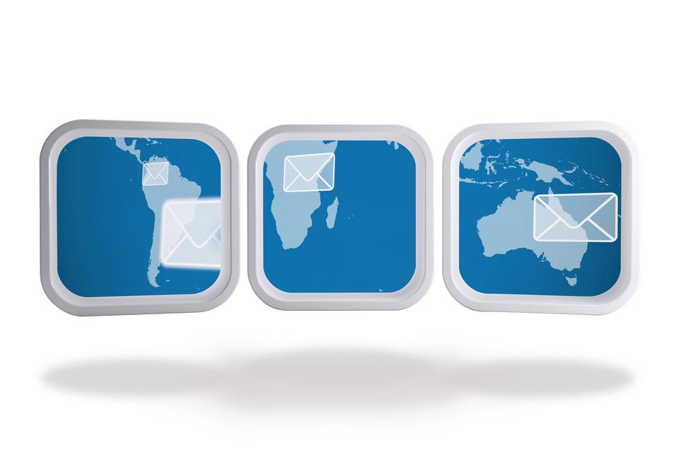 """World map and email on abstract screen"" stock image"