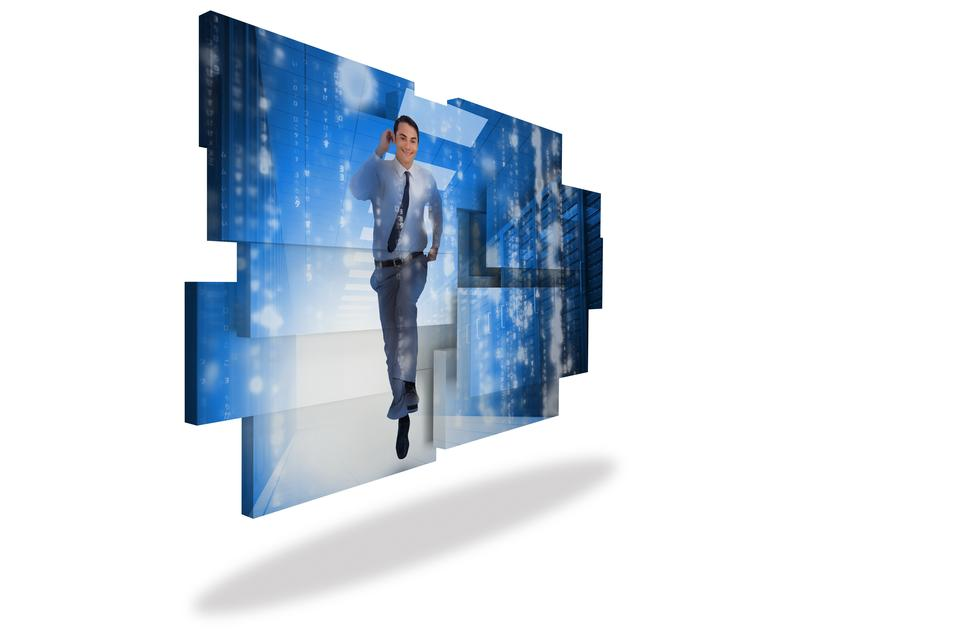 """Businessman in data center on abstract screen"" stock image"