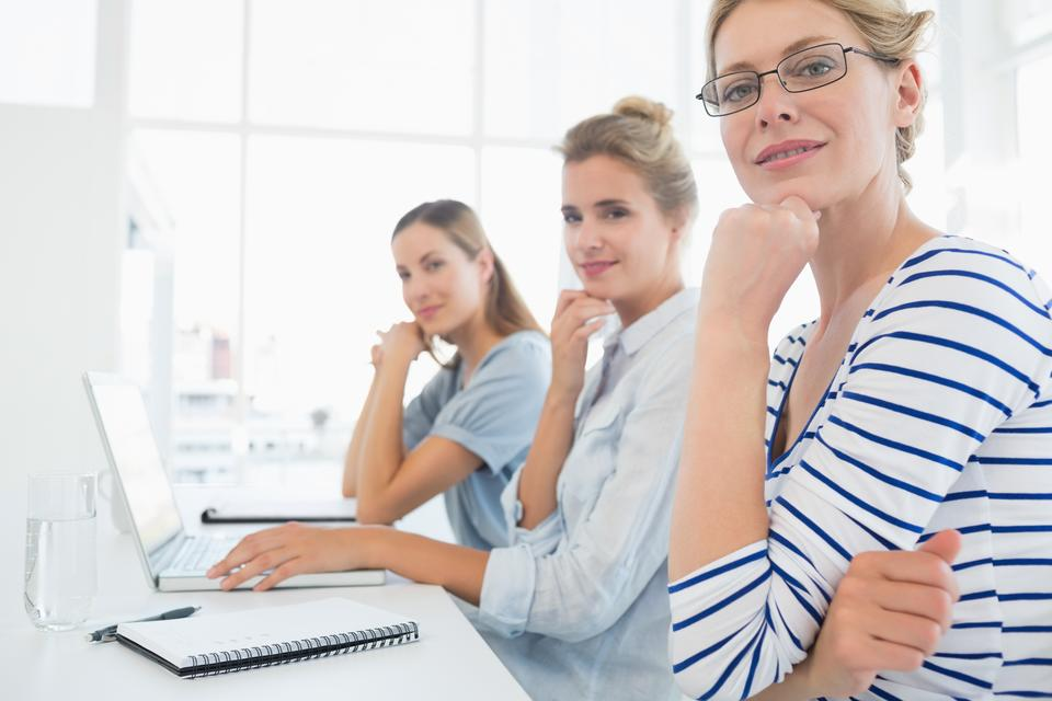 """""""Portrait of people working in office"""" stock image"""