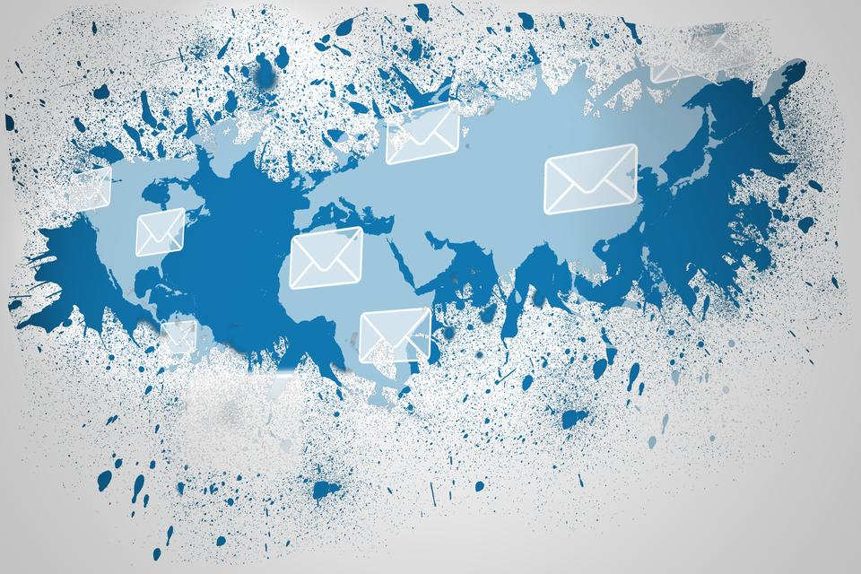 """Splash on wall revealing email graphic"" stock image"
