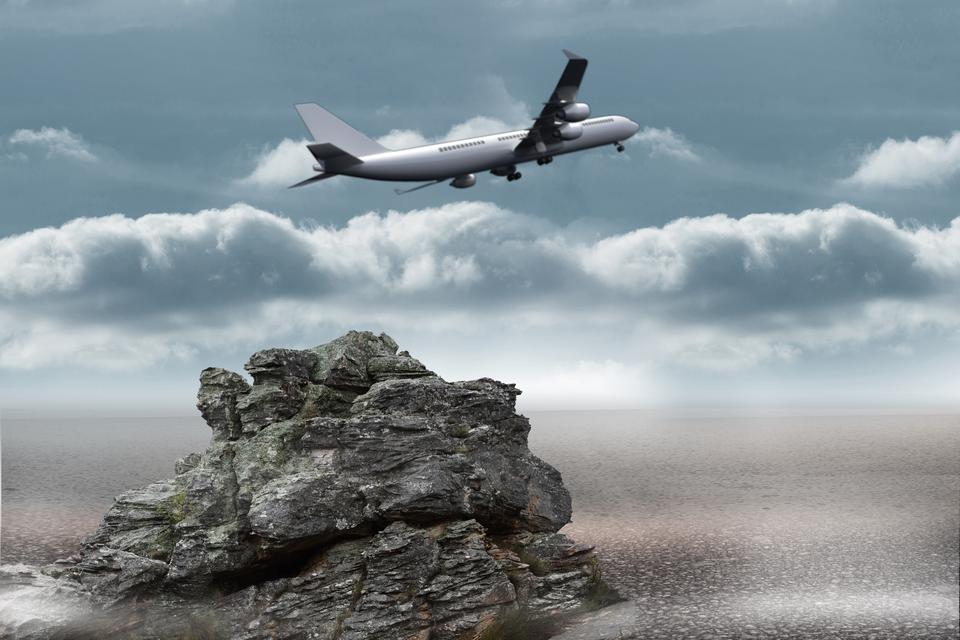 """Composite image of flying airplane"" stock image"