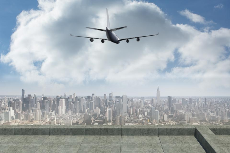 """""""Composite image of flying airplane"""" stock image"""