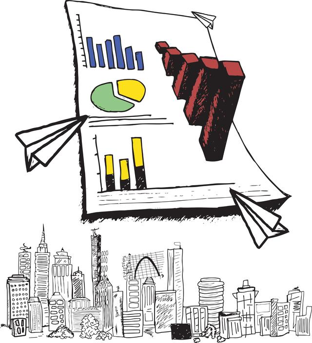 """""""Large 3d graph with cityscape doodle"""" stock image"""