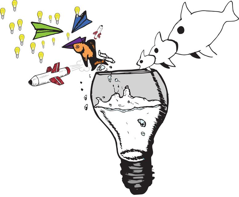 """""""Light bulb and water doodle"""" stock image"""