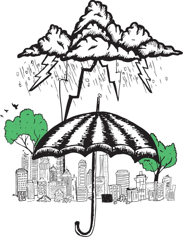 """""""Umbrella and storm doodle"""" stock image"""