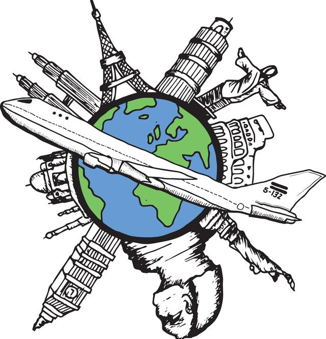 """""""Aviation and travel doodle"""" stock image"""