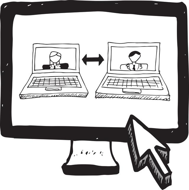"""""""Video chat doodle on computer screen"""" stock image"""