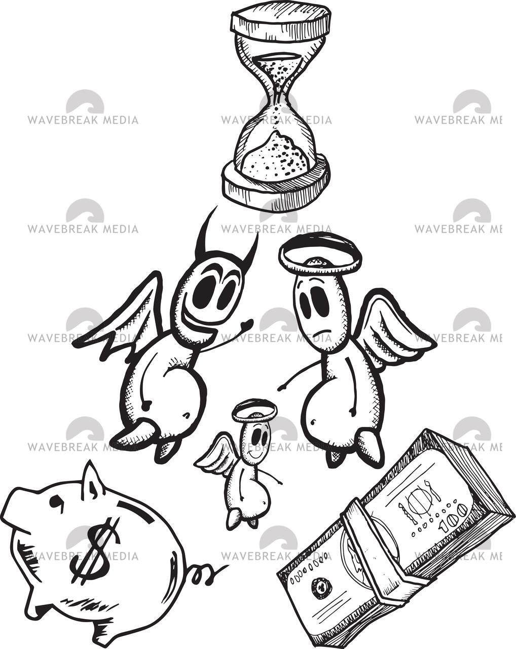 """""""Savings and spending concept illustrations with angel and devil"""" stock image"""