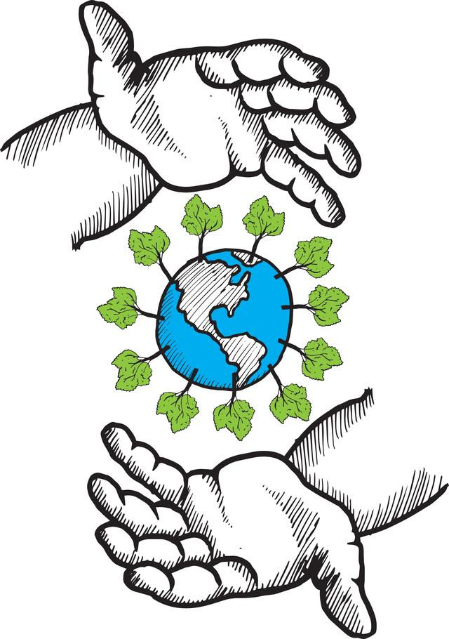 """""""Hands holding the earth doodle"""" stock image"""