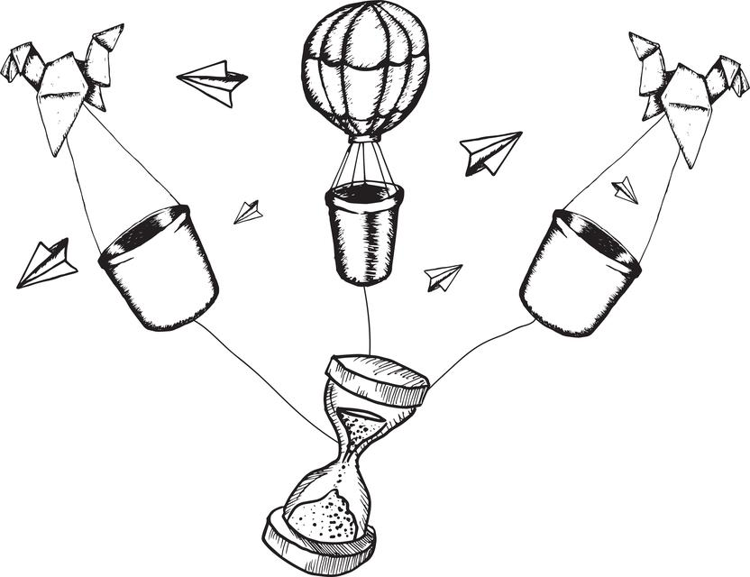 """Hot air balloons and hourglass doodles"" stock image"