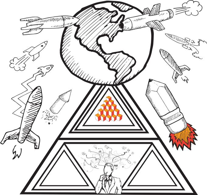 """""""Earth and rockets doodles"""" stock image"""