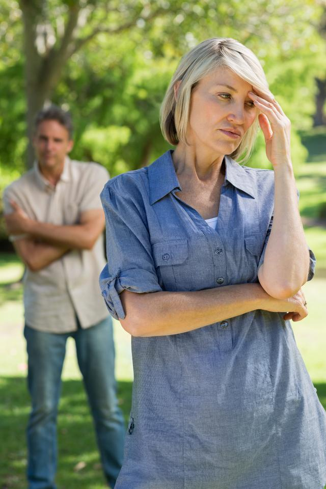 """""""Upset couple in park"""" stock image"""