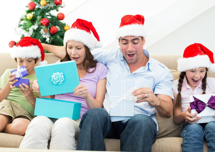 """""""Family opening Christmas presents"""" stock image"""