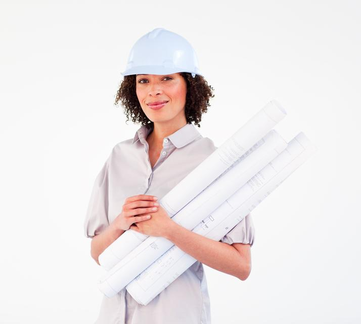 """Architect woman with hardhat holding blueprints"" stock image"