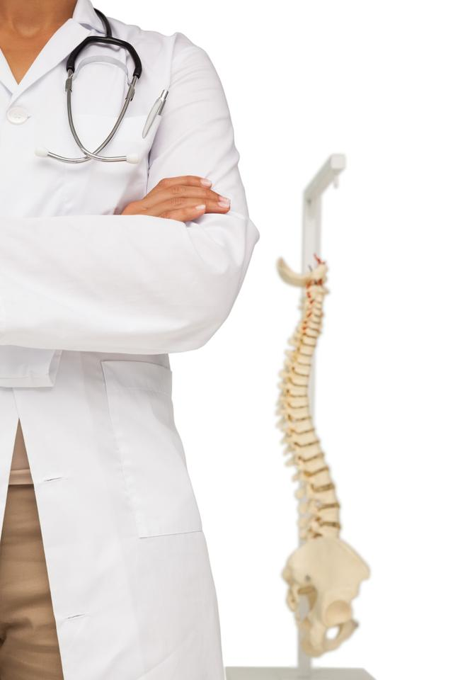"""Mid section of a female doctor with skeleton model"" stock image"