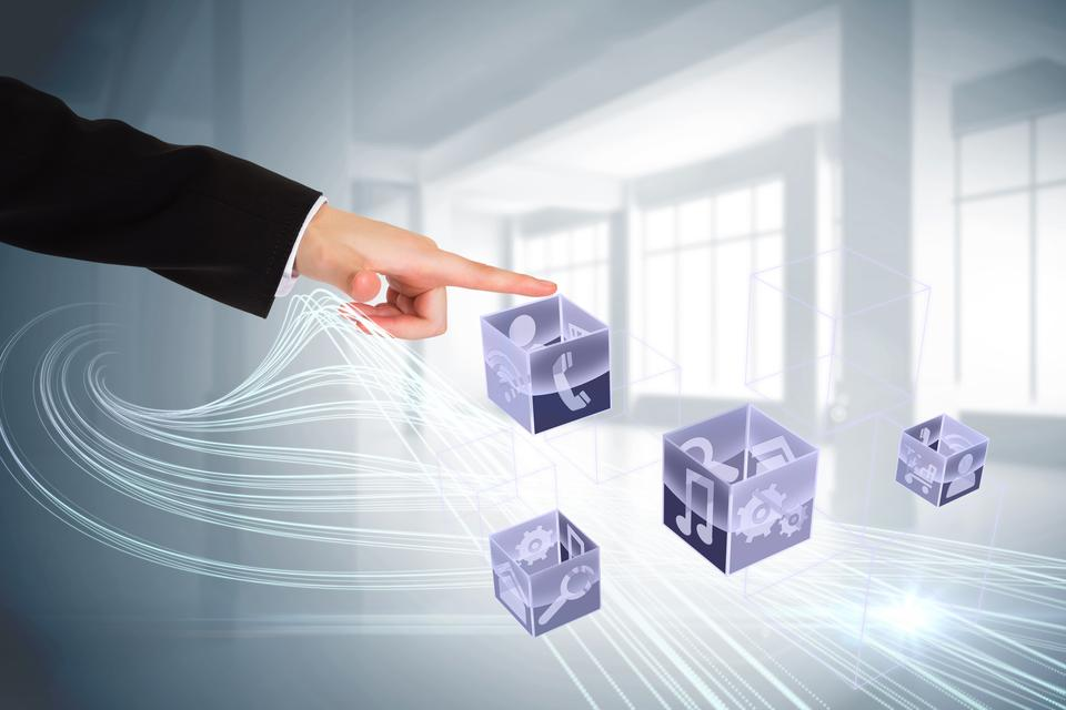 """Finger pointing to app icons on cubes"" stock image"
