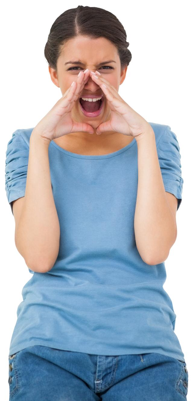 """""""Pretty young casual brunette shouting"""" stock image"""