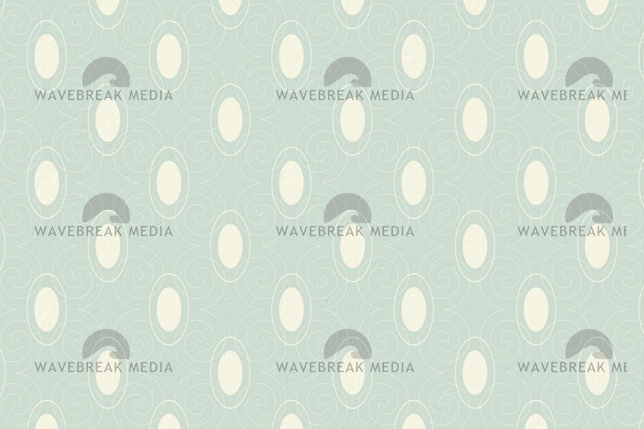 Blue And Cream Patterned Wallpaper Stock Image