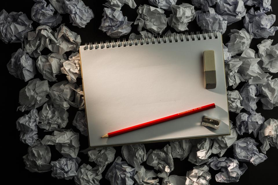 """""""Paper notebook with pencil eraser and parer"""" stock image"""
