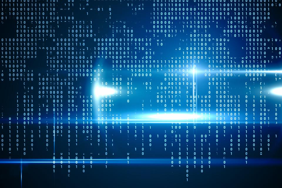 """""""Blue technology interface with binary code"""" stock image"""
