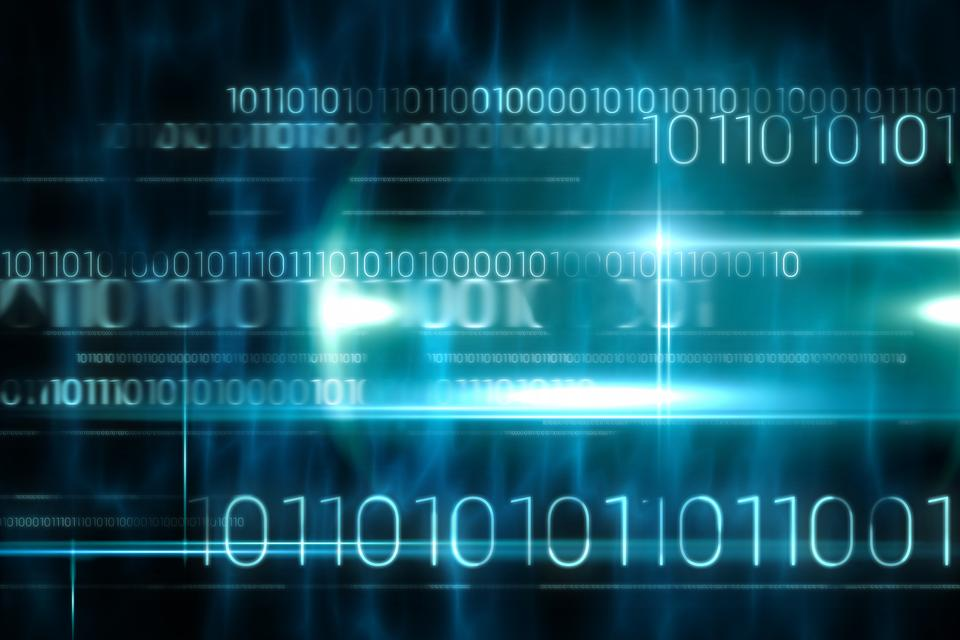 """""""Blue technology design with binary code"""" stock image"""