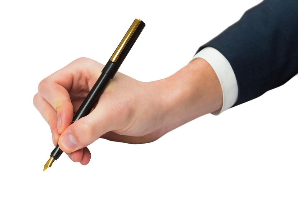 """Hand writing with fountain pen"" stock image"