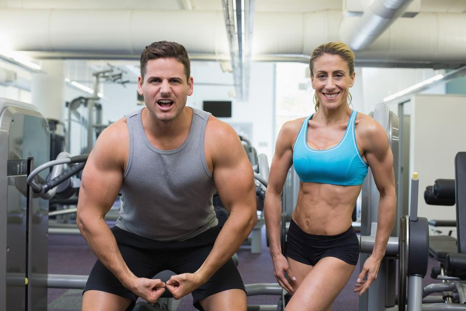 """""""Bodybuilding man and woman posing for the camera"""" stock image"""