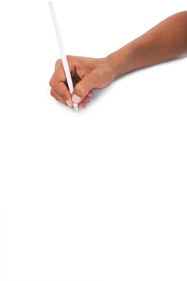 """""""Mans hand holding white pencil"""" stock image"""