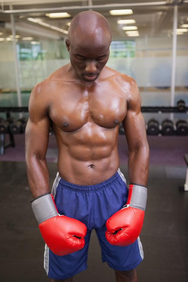 """""""Muscular boxer in health club"""" stock image"""