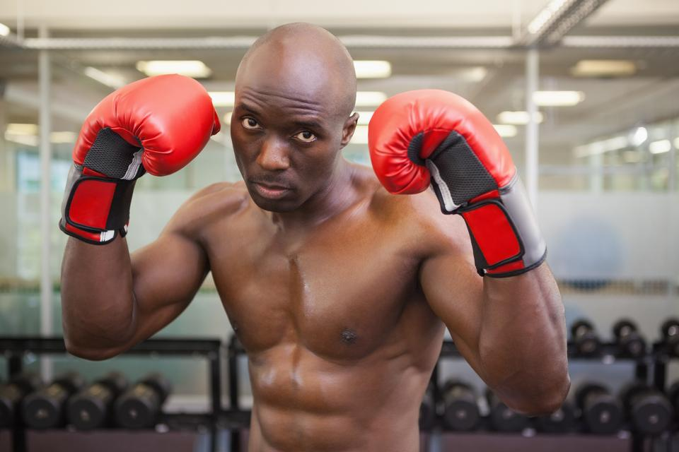 """""""Shirtless muscular boxer in health club"""" stock image"""