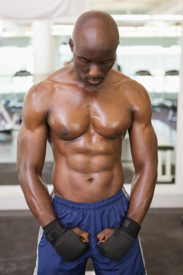 """""""Muscular boxer standing in health club"""" stock image"""