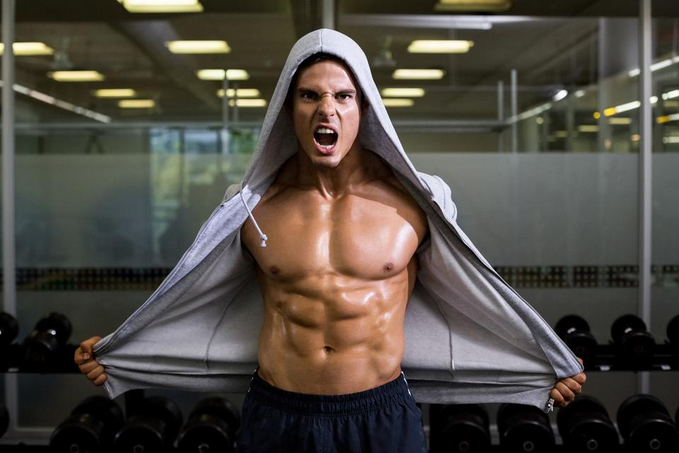 """""""Muscular man shouting in health club"""" stock image"""