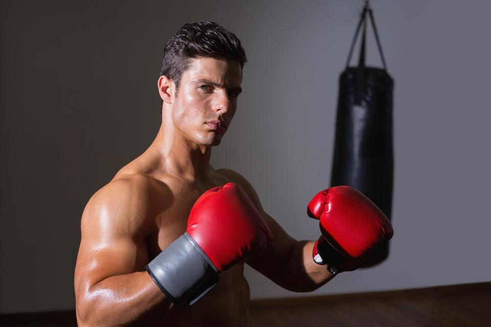 """""""Serious muscular boxer in health club"""" stock image"""