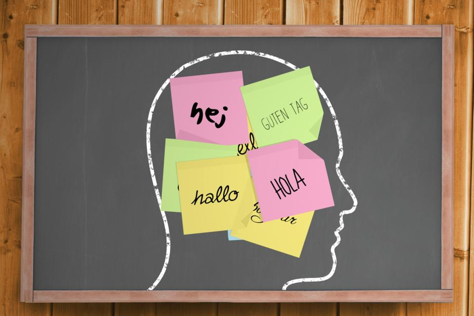 """Chalk head with hello post it notes"" stock image"