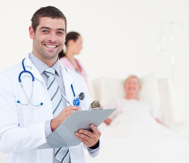 """Confident chief physician in a hospital"" stock image"