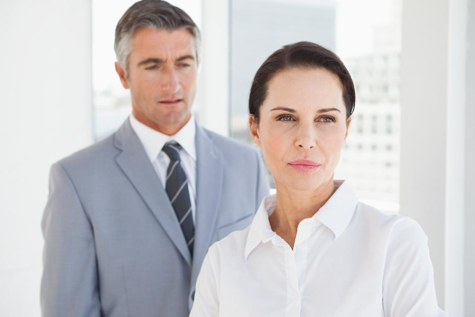 """""""Concentrated businesswoman looking away"""" stock image"""
