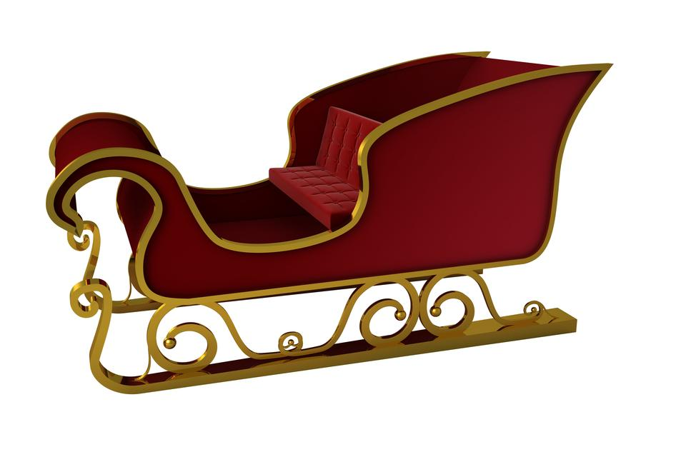 """""""Red and gold santa sleigh"""" stock image"""